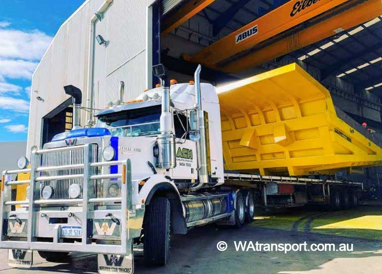 Heavy loader mining truck transport